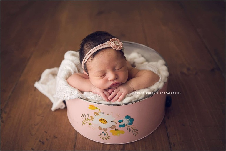 NWA Newborn Photographers | Baby girl newborn session in Rogers AR with soft pinks and florals | Erica Kirby Photography
