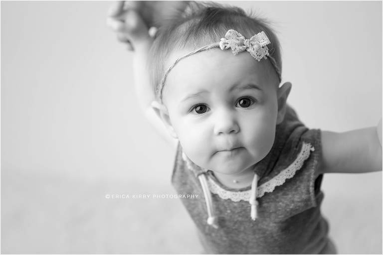 9 Month old baby girl milestone session in Bentonville AR photography studio with creams and purples | Erica Kirby Photography - NWA Baby Photographer