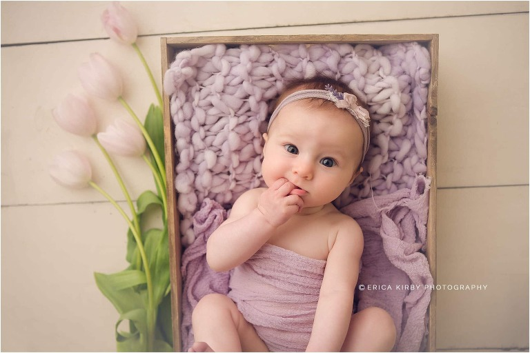 4 Month old baby milestone session with lavender styling and tulips in Bentonville AR | NWA baby photographer Erica Kirby Photography