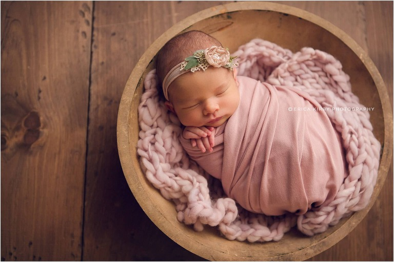 Newborn Photography Bentonville AR | Newborn Baby girl photography session in NWA with soft colors and floral accents | Erica Kirby Photography