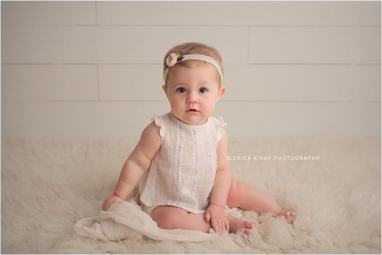 Northwest AR Baby Milestone Session baby girl 9 months old wearing white Tocoto Vintage baby clothing | Erica Kirby Photography
