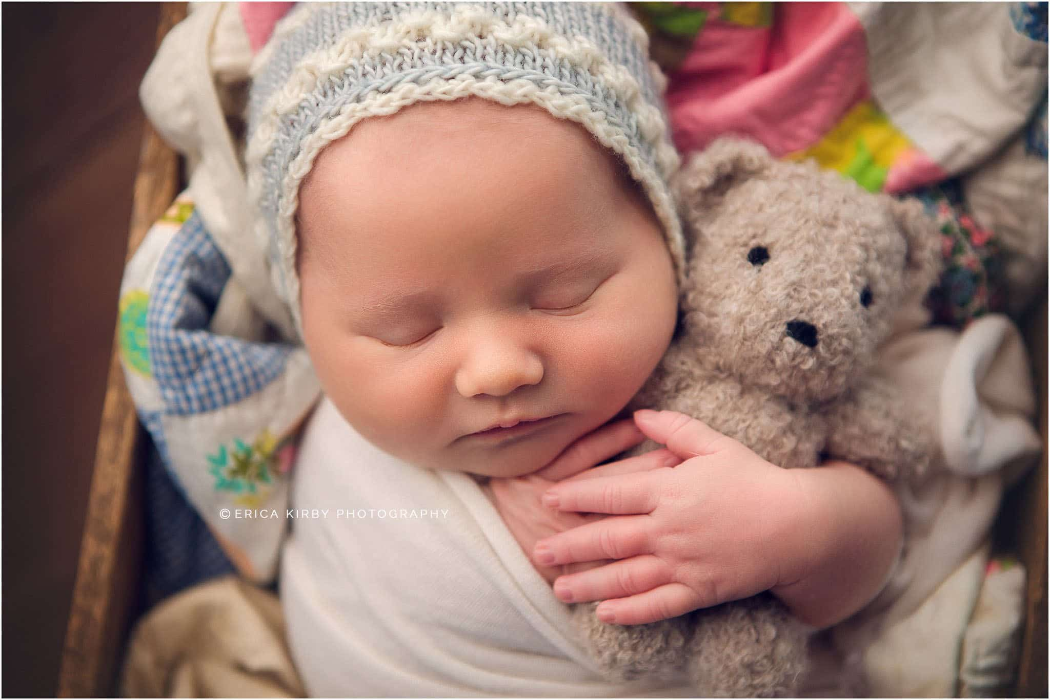 Newborn Photography Bentonville AR | Baby girl newborn session with lots of color, sleeping baby in adorable poses | Erica Kirby Photography