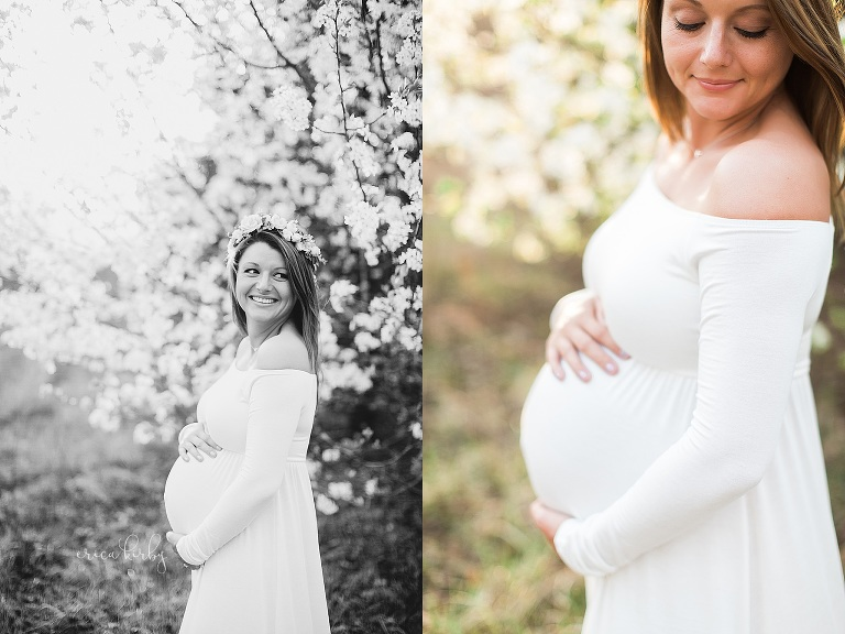 Northwest Arkansas Maternity Portrait Photographer - Erica Kirby Photography pregnancy photos in white blossoms in spring bentonville rogers fayetteville
