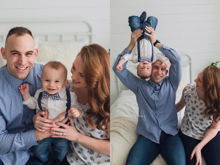 One Year Old Milestone Photographer NWA - studio family portraits for first birthday portraits - Erica Kirby Photography
